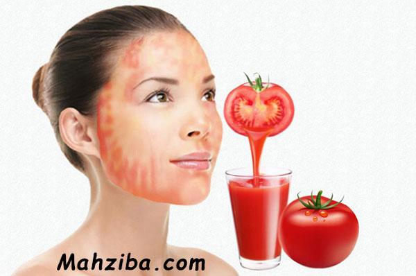 آب گوجه فرنگی برای درمان خانگی لک های پوستی